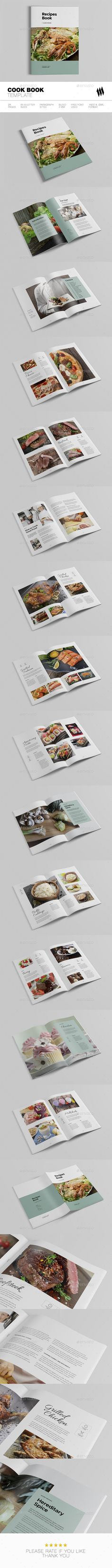Cookbook / Recipe Book Template InDesign INDD - 28 Pages, A4 & US Letter Size