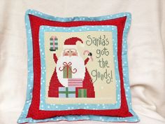 Lizzie Kate  Christmas Cross Stitch Pillow  by homecrafting, $18.00