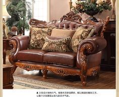 American classic style luxury cowskin genuine leather sectional sofa set with double-sided hand carving Sofa Set Designs, Sofa Design, Vintage Leather Sofa, Leather Sofa Set, Leather Sectional Sofas, Furniture Sofa Set, Luxury Furniture, Vintage Furniture, Living Room Furniture