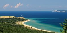 Sleeping Bear Dunes ---Overlooking Glen Haven Beach and South Manitou Island. Michigan
