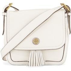 Tory Burch Frances Pebbled Leather Saddle Bag ($270) ❤ liked on Polyvore featuring bags, handbags, shoulder bags, purses, bolsas, accessories, bolsos, new ivory, zip purse and tassel purse