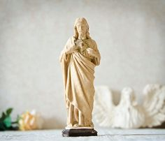 Sacred Heart French chalkware statue Jesus Antique by FrenchGypsy, $30.00
