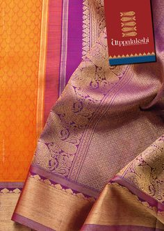 Sheer poetry in fabric. What is not to admire in this mandarin orange and purple saree with grand zari work in the pallu and border. A saree to be savoured, indeed. #Utppalakshi #Sareeoftheday#Silksaree#Kancheevaramsilksaree#Kanchipuramsilks #Ethinc#Indian #traditional #dress#wedding #silk #saree#craftsmanship #weaving#Chennai #boutique #vibrant#exquisit #pure #weddingsaree#sareedesign #colorful #elite