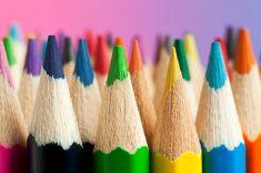 Multicolored Crayon Tips stock photo