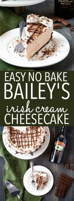 This Easy No Bake Bailey's Irish Cream Cheesecake is the perfect impressive dessert that's ultra creamy and flavoured with Bailey's Irish Cream. Impressive Desserts, Great Desserts, Best Dessert Recipes, No Bake Desserts, Delicious Desserts, Keto Desserts, Plated Desserts, Baileys Cheesecake, Cheesecake Recipes
