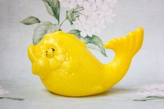 Soviet Big FISH Toy / Yellow Plastic USSR by LittleMonstersStore