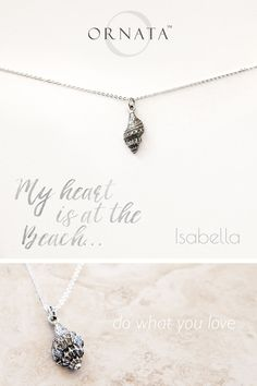 """""""My Heart is at the Beach"""" Delicate Seashell Silver Plated Necklace"""