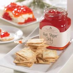 Easy Appetizer...crackers and cream cheese topped with Stonewall Kitchen Red Pepper Jelly. Could be good with Stonewall Kitchen Hot Pepper Peach Jam too!