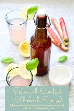 Homemade Rhubarb Cordial (Rhubarb Syrup) transforms sharp rhubarb into sweet & most refreshing drink. Simply dilute with either still or sparkling water to make delicious & thirst quenching beverage. Great in cocktails too! Rhubarb Syrup, Rhubarb Cake, Kitchen Larder, Kitchen Tips, Great Recipes, Amazing Recipes, Delicious Recipes