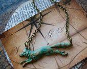 fox necklace hand aged verdigris patina