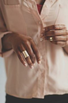 Brushed Tunnel Ring - Keep your fingers cozy in this golden wrap ring. $12 www.mooreaseal.com