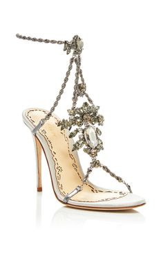 These **Marchesa** Krista sandals are rendered in suede and feature Swarovski crystal chains and an adjustable ankle strap. Wrap Shoes, Ankle Wrap Sandals, Shoes Sandals, Fashion Sandals, Suede Sandals, Strap Sandals, Marchesa Shoes, Ankle Strap High Heels, High Shoes