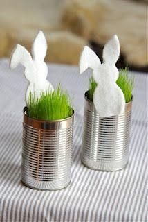 Hasensilhouette aus Filz - Kresse oder Rasensamen in einer Konservendose sähen - Tischdeko Ostern