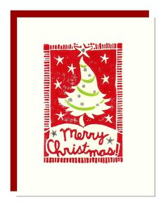 Christmas Tree Card in Red and Silver - Hand printed linocut. $5.00, via Etsy.