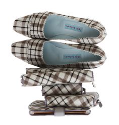 Stefi Talman - Pumps and wallets in calf fur with print - Karo - Plaid - Autumn-Winter 2010-11