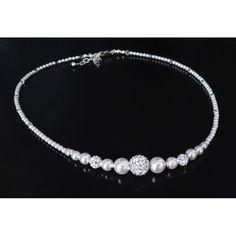 edle Perlenkette Sterling Silber Brautschmuck
