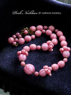 ピンクガラスのヴィンテージネックレス MIRIAM HASKELL(ミリアムハスケル)