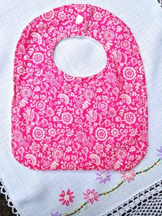 Liberty Bib in Pink - Towel Backed by YumyumHome on Etsy https://www.etsy.com/listing/221193134/liberty-bib-in-pink-towel-backed