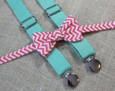 Coral Pink Chevron Bow Tie and Dark Mint Suspender set ( Men, boys, baby, toddler, infant Suspender and Bowtie )