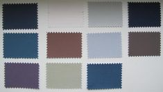 WINTER colors for soft summer: [by column from top left] Grey Navy, Grey Blue, Grey Violet, Soft White, Cocoa, Light Green Grey, Light True Grey, Light Blue Grey, Medium Blue Grey, Muted Navy, Cool Taupe
