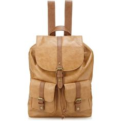 Accessorize Two-tone Rucksack (310 EGP) ❤ liked on Polyvore featuring bags, backpacks, tan, beige backpack, knapsack bag, snap bag, daypack bag and two tone bag