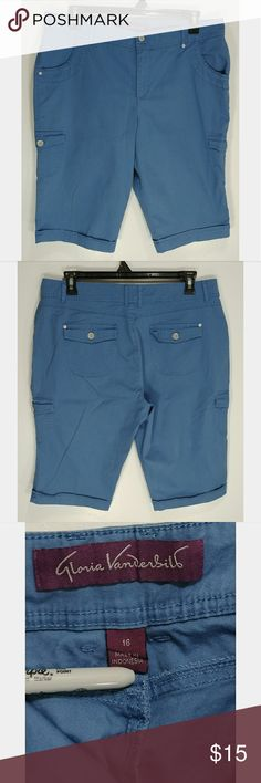 Gloria Vanderbilt Skimmer Cargo Shorts Woman's Gloria Vanderbilt Skimmer Cargo Shorts. 97% Cotton, 3% Spandex.  Color: Sky Blue  Size: 16  Condition: Pre-owned, Good Condition. No Visible Flaws with minimal signs of wear. Pet and Smoke Free.  (PLEASE CHECK MEASUREMENTS)  Measurements:  Waist - approx. 37 inches Inseam - approx. 14 inches Length - approx. 25 inches Thigh (flat) - approx. 14.5 inches Leg Opening - approx. 10 inches Front Rise - approx. 12 inches Back Rise - approx…