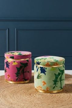 Velvet Floret Stool by Anthropologie in Green Size: All, Benches + Ottomans Bench Furniture, Unique Furniture, Furniture Ideas, Balcony Furniture, Studio Furniture, Funky Furniture, Refurbished Furniture, Furniture Design, Berry