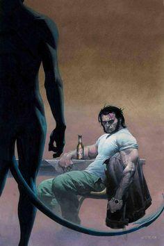 Nightcrawler and Wolverine from X-Men comics Marvel Wolverine, Marvel Comics Art, Marvel Vs, Marvel Heroes, Anime Comics, Logan Wolverine, Comic Book Artists, Comic Book Characters, Marvel Characters
