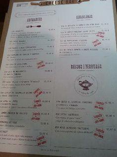 Poncelet Cheese Bar: Carta