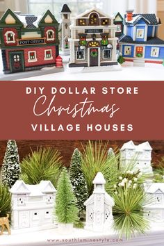 DIY Dollar Store Painted Christmas Village Houses.  Create stunning Christmas decorations from discount Dollar Tree decorations.