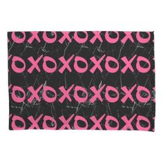 Cute girly hot pink black marble xoxo hugs kisses pillowcase - elegant gifts gift ideas custom presents