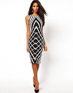 Imagen 1 de Vestido ajustado con estampado gráfico de ASOS.