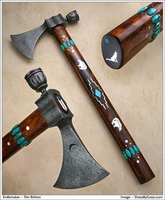 Tomahawk by Tim Britton - 2nd in the Master's Series, raindrop pattern damascus head, exhibition grade ironwood handle. Silver and turquoise inlay work is by master craftsman Larry Favorite.