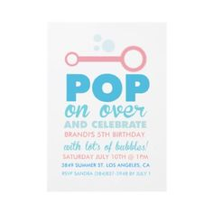 Bubble Party Themed Birthday Invite by origamiprints