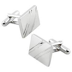 b105cc65c451 Zodaca For Men s Attire Tuxedo Silver Square Diagonal Ribbed Cuff link  Cufflinks New  men