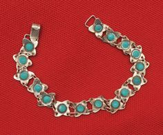 Delicate Vintage Turquoise and sterling bracolet by thebestvintage, $35.00