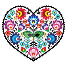 Naklejki stary, tkanina, romantyczny - polska sztuka ludowa sztuka serce z kwiatów - wzory łowickie w ofercie Pixers. Produkt wykonany na bazie zdjęć artystycznych, ze świetnych materiałów drukarskich.