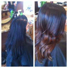 Before/After  Blue black to medium carmel ombre done at Maximum Image Salon, Riverside CA