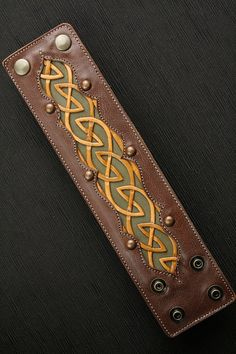 "Leather Cuff, Leather Bracelet: leather cuff with a celtic design ""Celtic Dara Cuff"""