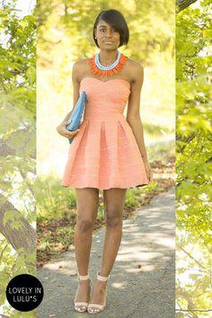 Cute Strapless Dress - Orange Dress - Bandage Dress - $59.00