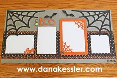 Two Page Artbooking Halloween Spiderweb Boo Scrapbook layout #ctmh #scrapbooking #scraptabulous