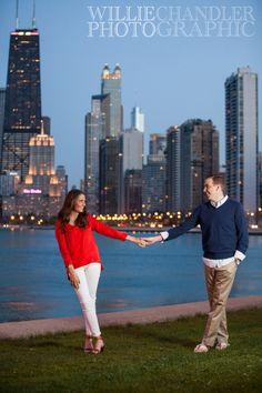 Willie Chandler Photography, Chicago Engagement Photos, lake, skyline, sunset, night