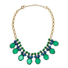 Charm & Chain | Emerald & Blue 8 Drop Necklace - Statement - Necklaces - Jewelry