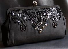 Black beaded bag.