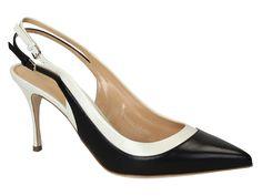 Sergio Rossi black/white Leather heels slingbacks shoes - Italian Boutique €345