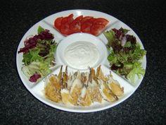 Smoked mackerel salad wrap platter