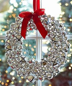 Silver bell wreath with ribbon