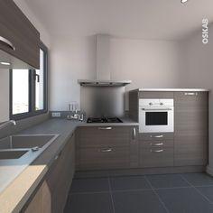 Cuisine ultra design combinant des meubles en bois foncé et un plan de travail et des crédences gris alu, finition avec des poignées de meubles fines en alu mat - www.oskab.com
