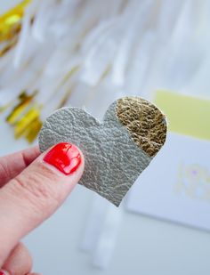 DIY Leather and Gold Leaf Heart Clip | Lovely Indeed