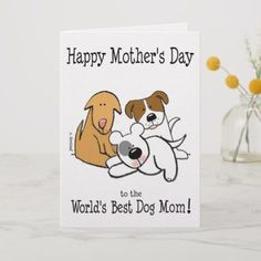 World's Best Dog Mom Card for sale. For your favorite dog Mom--say Happy Mother's Day! These cute puppies send their love, best wishes and thanks for being the furry best Madre out there! Mothers Day Special, Funny Mothers Day, Happy Mothers Day, Greeting & Note Cards, Custom Greeting Cards, Mom Cards, Mothers Day Cards, Happy Mother's Day Card, Diy Gifts For Mom